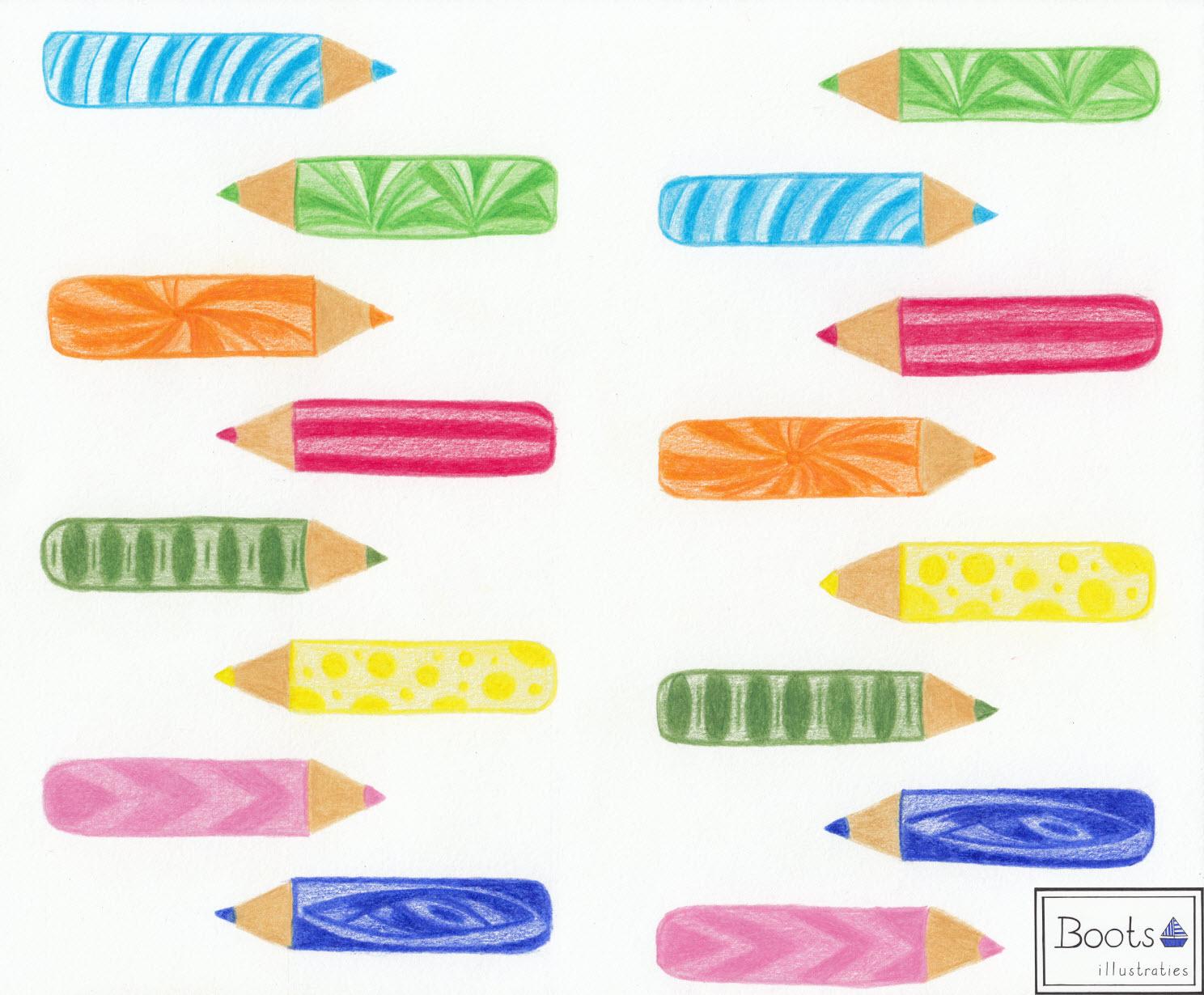 Patroon gekleurde potloden