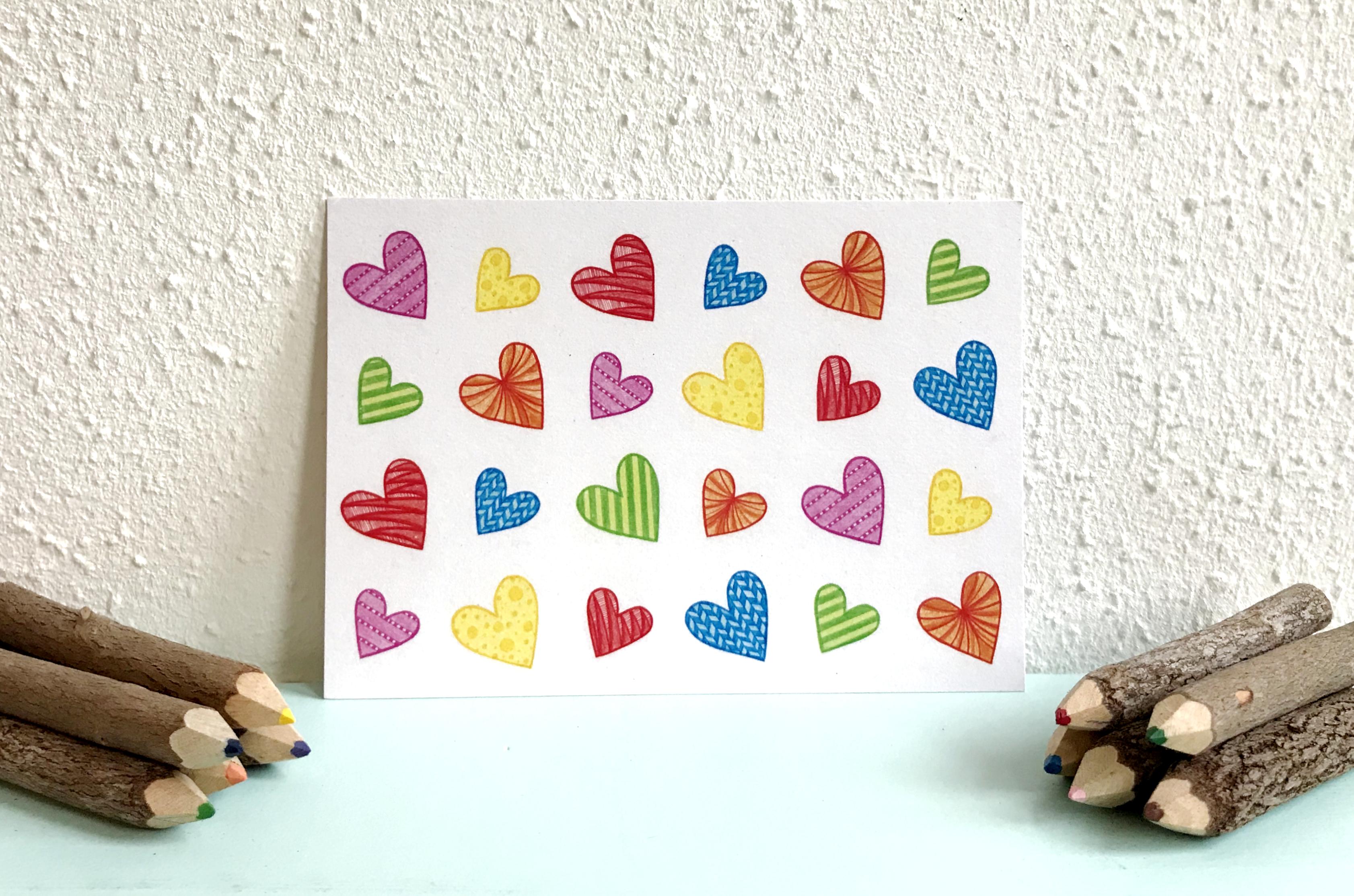 Valentijn, kaart gerecycled papier hartjes, actie: gratis verzending