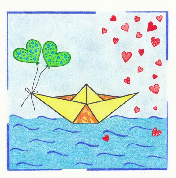Voorzijde trouwkaart, bruiloft, huwelijk, trouwkaart bootje, hartjes