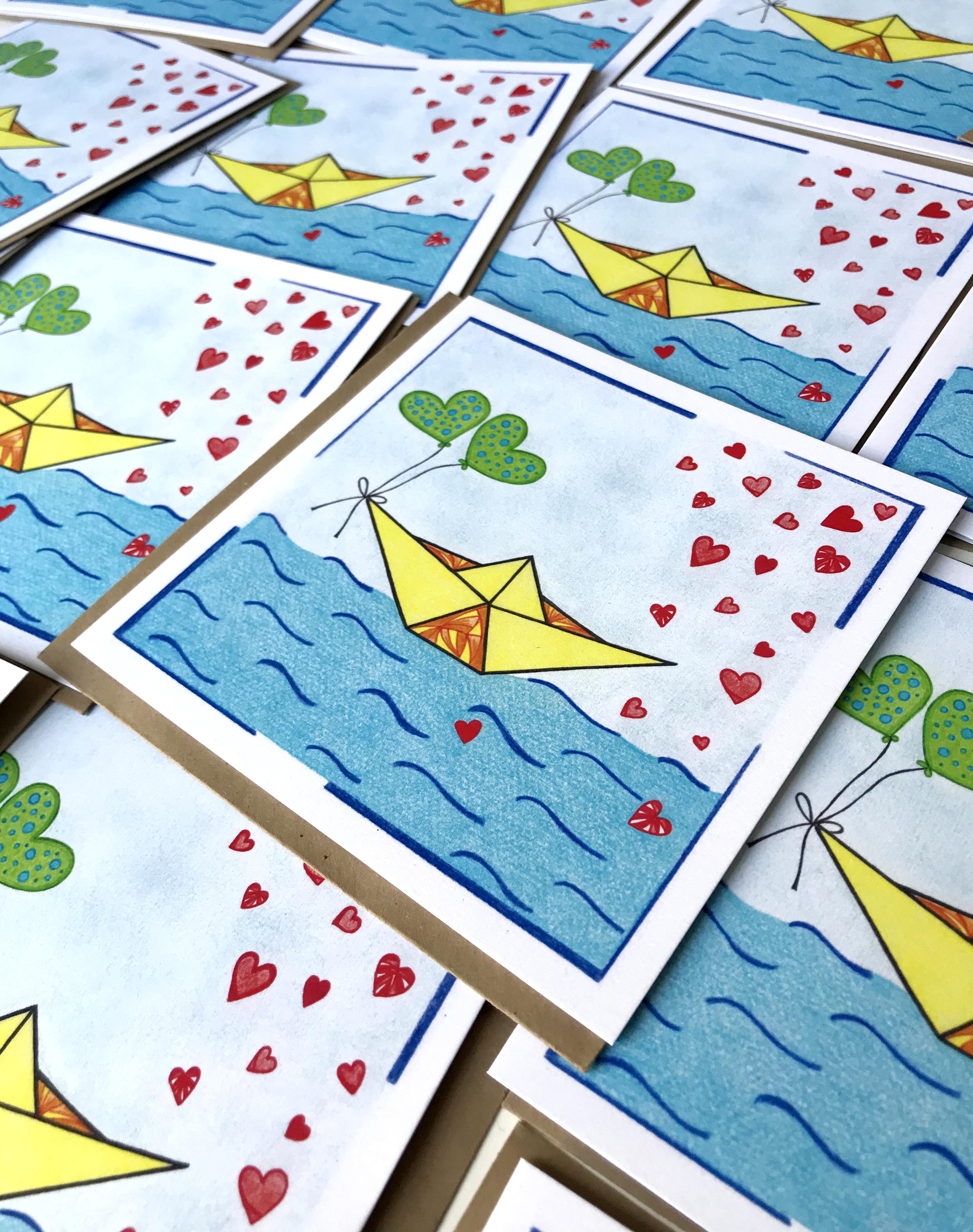 trouwkaart custom made, Boots illustraties, gerecycled papier trouwkaart