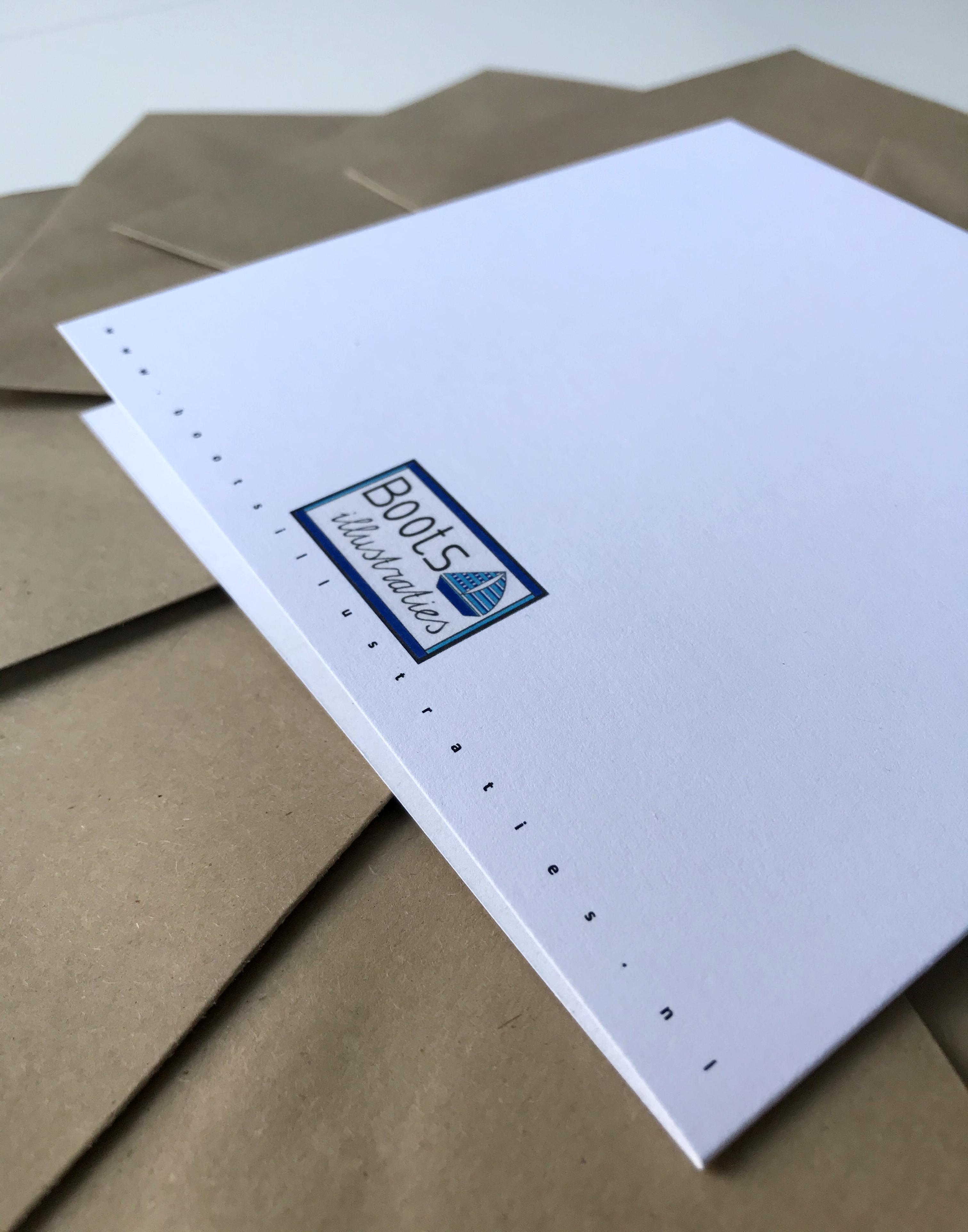Duurzaam, trouwkaart, Boots illustraties, gerecyclede enveloppen